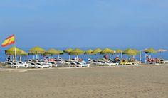 Carihuela beach in Torremolinos Spain, late October.
