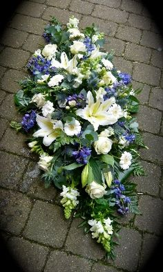 red white and blue floral wreaths | Blue & White Casket Spray