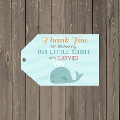 Ocean Little Squirt Whale Baby Shower Favor by PartyPopInvites