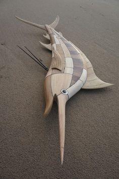 Blue Marlin -by: paul jansen #totempauljansen.nl #fishart #woodcarving #surfart