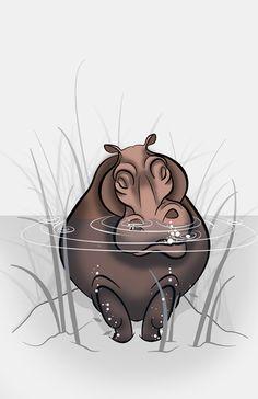 Hippopotamus Ink Art