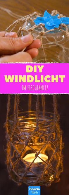 Mehr Meer! Bastle dein eigenes Windlicht zum Aufhängen! #diy #basteln #selbermachen #upcycling #deko #stil #windlicht #teelicht #kerze #schnur