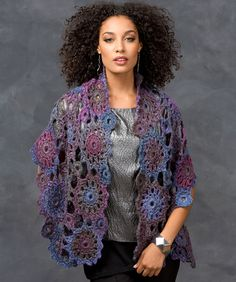 Circular Motif Shawl Crochet Pattern  #wrap  #redheartyarns  #crochet