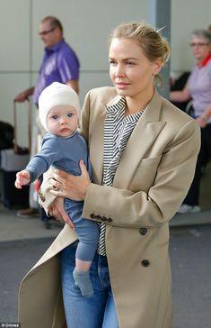 Gorgeous: Lara Worthington (nee Bingle) showed off her adorable blue-eyed baby boy Racer f...