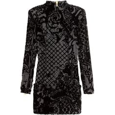 H&M Velvet dress in a silk blend (3 475 UAH) ❤ liked on Polyvore featuring dresses, black, long sleeve short dress, black zipper dress, black fitted dress, black dress and print dress