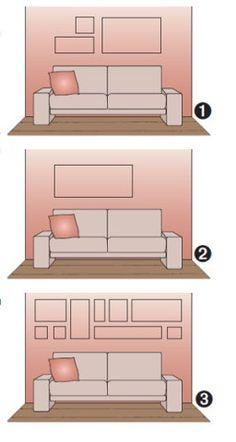 Os arquitetos sugerem diferentes composições de quadros na parede atrás do sofá.
