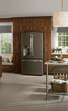 GE Appliances in Slate, a new alternative to stainless. No fingerprints!  Love this.