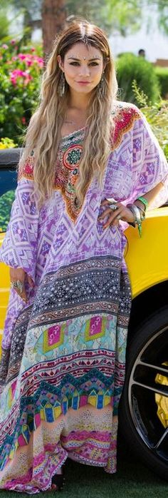 Who made Vanessa Hudgens' purple print kaftan dress and sunglasses?