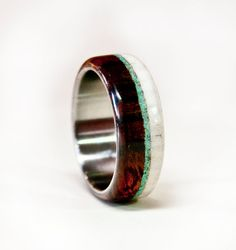 Mens Wedding Band Wood and Antler with Titanium by StagHeadDesigns, $230.00