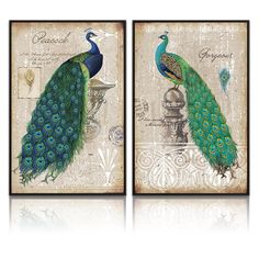 Xlarge Peacock Canvas Art Prints,Peacock Canvas Wall Art Home Wall Decal,Canvas Art with Frame,Ready Hanging On,Animal Peacock Wall Art (Classical Green Xlarge with Prime Floater Frame)
