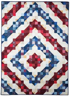 Rings of Freedom Quilt Digital Pattern Flag Quilt, Patriotic Quilts, Patch Quilt, Quilt Blocks, Blue Quilts, Scrappy Quilts, Star Quilts, Quilting Projects, Quilting Designs