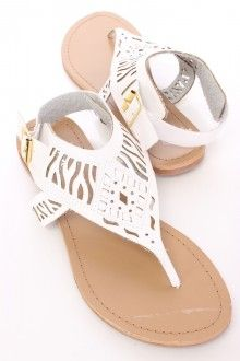White Lazer Cut Thong Sandals Faux Leather