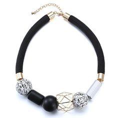 eManco Wei? Schwarz Holz Perlen Erkl?rung Seil-Halsketten-Gold ¨¹berzogen f¨¹r Frauen