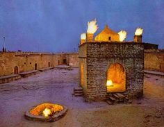 Zoroastrian temple in Azerbaijan in the Absheron peninsula there are many places where the fire comes up from the underground.
