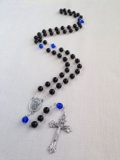 St Michael Catholic Rosary Thin Blue Line by RosaryTreasures210