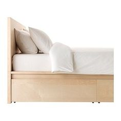 malm high bed frame4 storage boxes king ikea veneer birch