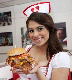 Las Vegas Heart Attack Grill: The menu includes a Quadruple Bypass Burger and Flatliner Fries, which are cooked in lard.