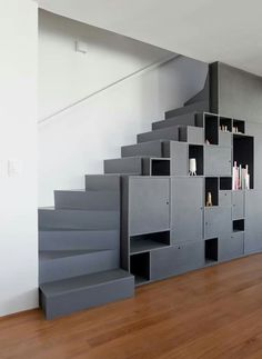 apartment decorating 5207355803502927 - Gallery of Apartement Vazio / AR Arquitetos – 7 Source by espritdesign Stair Shelves, Staircase Storage, Loft Stairs, House Stairs, Staircase Design, Storage Under Stairs, Staircase Ideas, Railing Design, Shelving