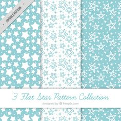 Pack of blue and white patterns with stars Free Vector