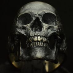 Skull ring Standard full jaw silver mens skull biker masonic rock n roll gothic handmade jewelry .925 etsy