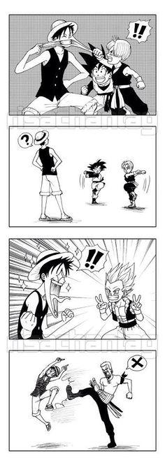 One Piece & Dragon Ball Z Monkey D. Luffy, Sangohan, Trunks, Gotenks, & Roronoa Zoro