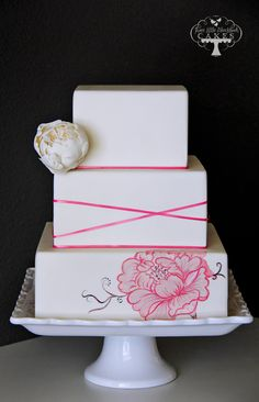 Hand Painted Pink Flower Square Tiered Cake