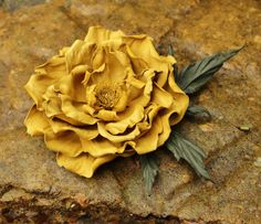 Leather flower, leather rose, yellow leather flower brooch