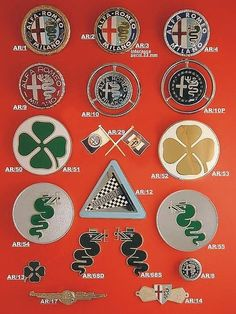 Various Alfa Romeo badges