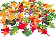 Autumn colored leaves of deciduous trees oak, sycamore, linden for the season table. Beautifully felt leaves to tinker, to adorn the festive table for decoration of shells, the wedding, etc.  Also great to tinker garlands himself.  For the florist, the felted leaves are a great way wreaths, flower arrangements, To make arrangements grave u.a.noch valuable.  But you can also use the leaves, magical brooches and necklace pendant craft. Appropriate flowers you also find in my shop.  Sweet…