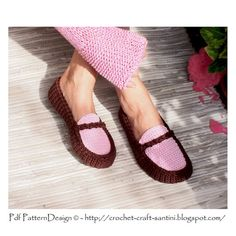 Chocolate & Pink Loafers - Moccasins - The Basic Slipper CROCHET-PATTERN - Instant Download