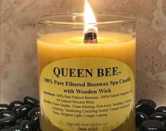 Queen Bee 100% Pure Filtered Beeswax Spa Candle With Wooden Wick