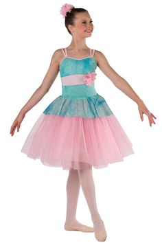 Style# 17328 A BRAND NEW DAY Mint glitter printed tie-dye mesh over mint spandex leotard with attached top skirt, pink spandex insert and binding straps. Separate pink chiffon tutu. Flower and spandex binding trim. Headpiece included. SC-XXLA