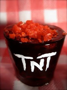Pop Rocks and Coke JELLO SHOT!(TNT barrels)  Granulated Gelatin,  Root,   a little Goldschlager,  Coca-cola  & Pop Rocks
