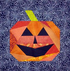 Halloween Jack-o-Lantern quilt block pattern by Nancy at Patchwork Breeze, featured at Val's Quilting Studio