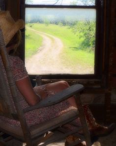Fine Art Photography Woman Rocking Chair Window View  Gravel Road 8x10 on Etsy