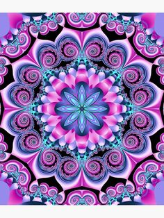 Mandala design Wallpaper - Fractal pattern with swirls and other patter in pink and blue I added te flower in the centre, being also a fractal design Both fractals are created with Ultra fractal nr 5 Fractal Design, Mandala Design, Mandala Pattern, Fractal Art, Mandalas Painting, Mandalas Drawing, Mandala Wallpaper, Fractal Patterns, Mandala Coloring