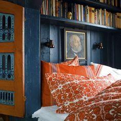 Fairytale Norwegian Cottage Has the Sweetest Reading Nook - Curbed Orange Bedding, Bedroom Orange, June Colors, Interior Exterior, Interior Design, Compact Living, Home Bedroom, Bedrooms, Sweet Home