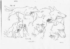 wolves of mononoke hime - Bing images Totoro, Princess Mononoke Wallpaper, Studio Ghibli Art, Hayao Miyazaki, Art Portfolio, Art Reference, Concept Art, Character Design, Tattoo