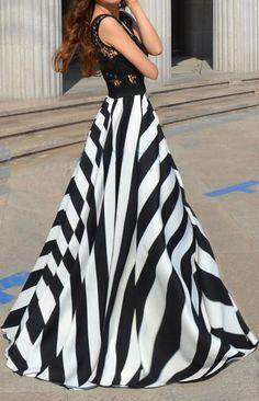 Stripes Print See-through Lace Splicing Chiffon Maxi Beach Dress
