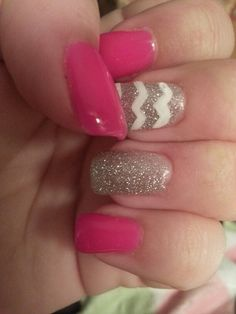 Pink and glitter with zig zag gel manicure ;)