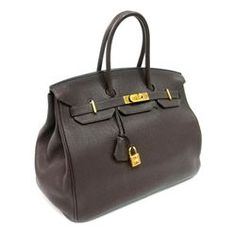 204b81aaab3 Authentic Vintage Hermes 35cm Birkin Bag in Chocolate Clemence Leather with Gold  Hardware - Longfellow Auctions