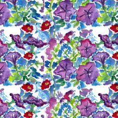 Purple Petunias fabric by countrygarden on Spoonflower - custom fabric