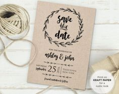 Rustic Save the Date Template Instant Download by MintyPaperieShop