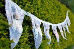 Vintage Style Tea-dyed Lace & Rose bud Wedding Bunting.