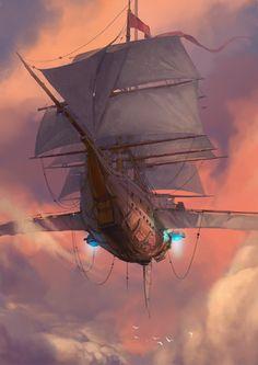 Fantasy Places, Fantasy Map, Fantasy Artwork, Fantasy World, Steampunk Ship, Arte Steampunk, Fantasy Art Landscapes, Fantasy Landscape, Flying Ship