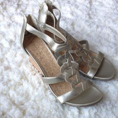 """Covington Gilver Wedges (Size 10) NWOT Never worn! The sandals are a silvery gold color (""""gilver""""). Covington Shoes Wedges"""