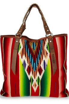 Totem Salvaged Leather-Trimmed Cotton Tote..Love!!!  So Cute With Blue Jeans