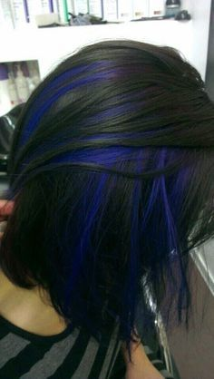 Dark Black Hair with Blue Highlights