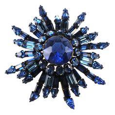Schreiner Vogue Cover Blue Rhinestone Brooch Pin