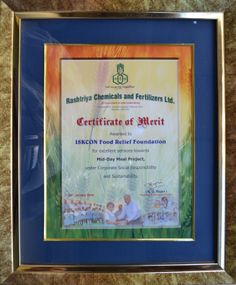 Rashtriya Chemicals and Fertilizers Ltd. (RCF) awards Certificate of Merit to ISKCON Food Relief Foundation for its excellent services in providing meals to underprivileged children
